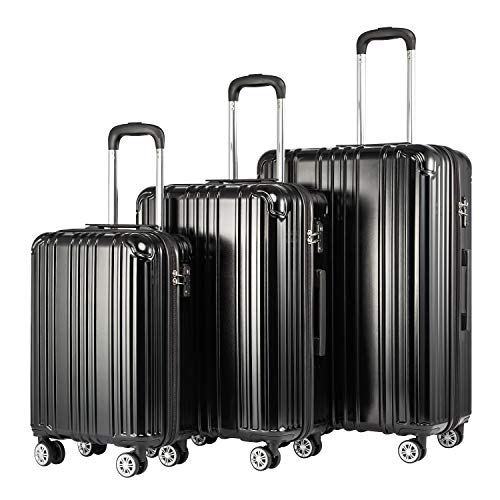 Coollife Hard Case Rolling Suitcase Travel Suitcase Extendible Luggage (Large Suitcase Expandable Only) PC + ABS Material with TSA Lock and 4 Wheels Black Black Koffer-Set