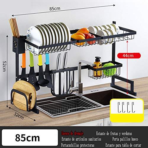 Estante para secar platos sobre el fregadero, estante de suministros de la organización del mostrador del escurridor de la cocina Ahorrador de espacio Pantalla de acero inoxidable ≤ 32 1/2 pulgadas