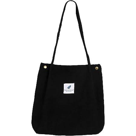 MNEUSHOP Groß Cord Tasche Damen Cord Umhängetasche Umwelt Schultertasche Lässige Handtasche Fashion Stofftasche Canvas Bag für Alltag Schulausflug-Black