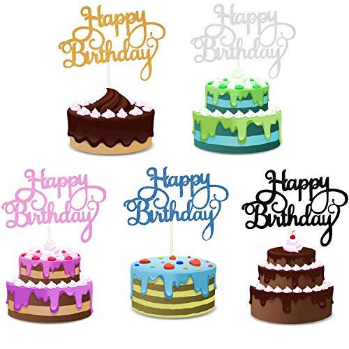 Yaomiao 25 Piezas decoración para Tarta de cumpleaños Feliz cumpleaños para decoración de Fiesta