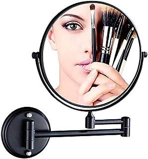 BMJ&C Shaving Mirror Rotating Mirror Bathroom Makeup Mirror Folding Creative Cosmetic Mirror Two-Way Mirror Magnifier,Black (Size : 6 inch/3×)