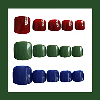 MISUD Square Fake Toe Nails 72 Pcs Short Style Glossy Press-on False Nails Cherry Green Sapphire Art Tips Sets - Tricolor Flower Series B