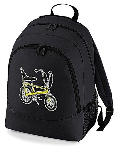 Chopper Bike- Mochila de estilo clásico, unisex, diseño gráfico, Negro (Negro) - BPK1198-BLACK