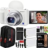 Sony ZV-1 Compact Digital Vlogging 4K Camera for Content Creators & Vloggers DCZV1/W Double Battery Bundle with Deco Gear Case + 64GB Card + External Charger and Accessories