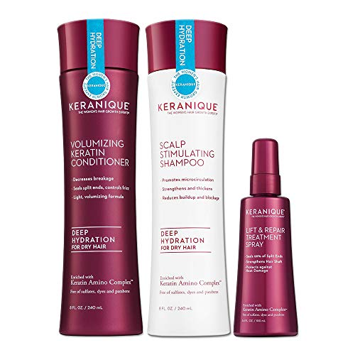 Keranique 60 Day Lift & Repair Kit - Deep Hydration | Shampoo, Conditioner, and Lift & Repair Treatment Spray | Keratin Amino Complex | Seals Split Ends | Free of Sulfates, Dyes and Parabens