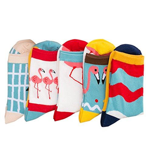 Thmyo 5 Pairs Womens Cotton Lässige bequeme Funky Socken (Crew Flamingo Socken)
