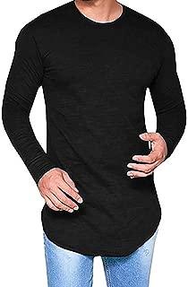 Mens Crew Neck Hipster Hip Hop Swag Curve Hem Long Sleeve Plain T Shirt