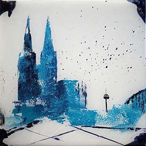Bild Köln Kölner Dom hochglänzend Kunst Original mit Kunstharzveredelung Gemälde 15x15 cm