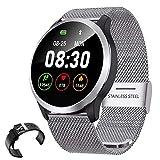 IP68 Fitness Tracker Smart Watch Mit EKG-Blutdruck-Puls-Monitor-Smart Watch Mit Edelstahl-Band Und Einstellbarer Helligkeit,Silber