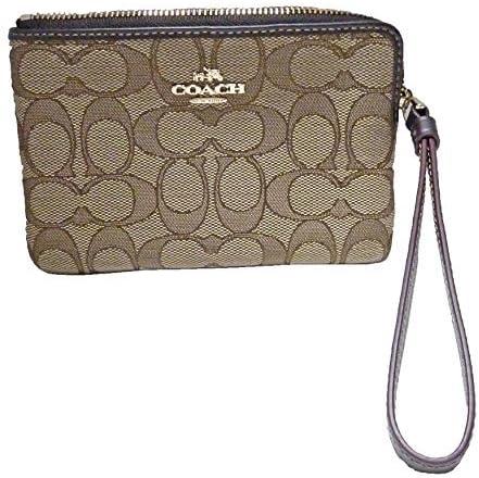 COACH Outline Signature C Corner Zip Wristlet Wallet