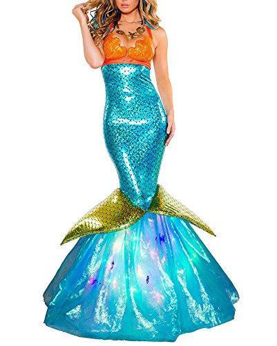 Playa Vestido Cola De Sirena Cosplay Halloween Baile Disfraces Dress para Adultos Mujeres Fiesta De Maquillaje