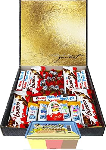 Cesta Regalo Kinder Chocolates y Crema 3 Sabores, Contiene Kinder Chocobons, Kinder Bueno, Kinder Maxi, Kinder Joy, Kinder Happy Hippo , 1 Crema (Fresa, Choco y Vainilla) JamonOnline. Regalo Original.