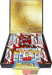 Cesta Regalo Kinder Chocolate y Crema 3 Sabores, Contiene Kinder Chocobons, Kinder Bueno, Kinder Maxi, Kinder Joy, Kinder Happy Hippo, 1 Crema Fresa, Choco y Vainilla Recuerda Años 80s Regalo Original