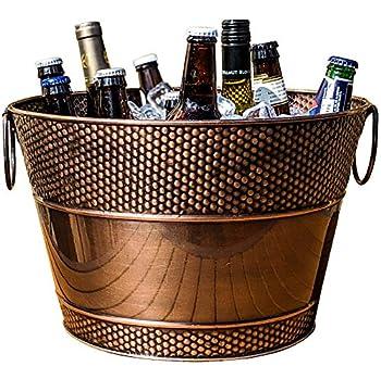 BREKX Old Tavern Copper-Finish Beverage Bucket / Drink Bucket for Parties Wedding Gifts 15 Quarts