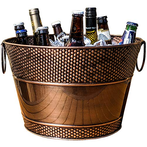 BREKX Old Tavern Copper-Finish Beverage Bucket and Wine Chiller, Rust-Resistant and Leak-Proof Ice and Drink Bucket, 15 Quarts
