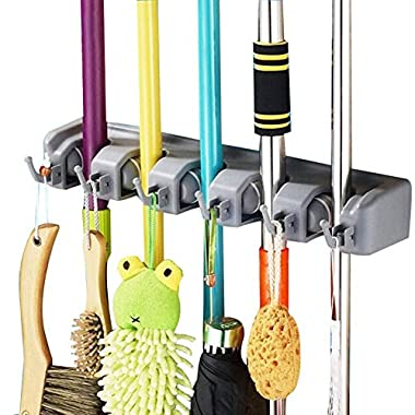 DayBuy Mop and Broom Holder Wall Closet Mounted with 5 Position and 6 Hooks Organizer Rakes Automatic Handle Grips Household Tool and Garage Storage Organization Racks