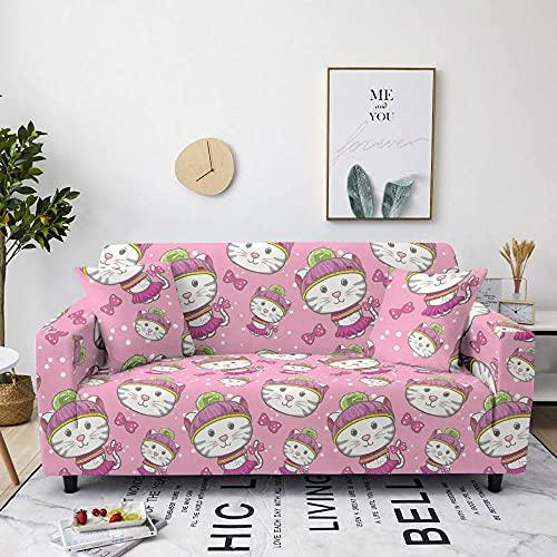 AHKGGM Funda de sofá Estampada Gato Animal Rosa y Blanco 4 plazas: 235-300cm