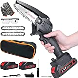Mini Chainsaw Cordless, 4-Inch Battery powered Chainsaw, Splash Guard & Switch Security Lock, 2 Pcs 24V Rechargeable Battery, Handheld Portable Electric chain saws for Wood Cutting, Tree Pruning