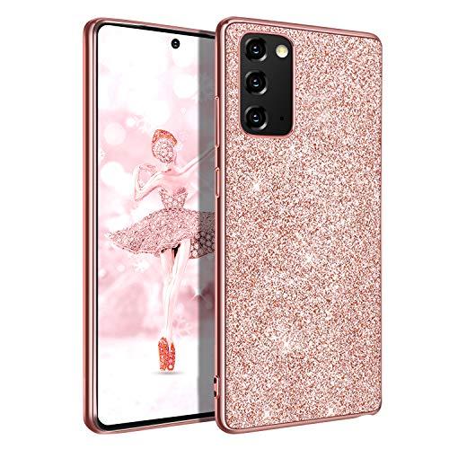 DUEDUE Samsung Galaxy Note 20 5G Silikon Hülle Schutzhülle Ultradünn Galaxy Note 20 Handyhülle Glitzer Bling Hülle für Samsung Galaxy Note 20 5G Rose Gold