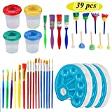 MIXNOVO 39 pcs Paint Brushes Sets for Kids Drawing Supplies with Non-Spill Cups with Lids,...