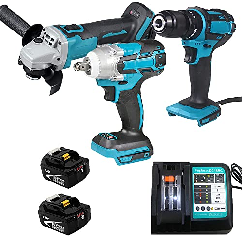 Brushless Impact Driver Wrench & 18V Cordless Combi Drill & Brushless Angle Grinder with 2 Pack Li-thium ion Batteries and DC18RC Charger Power Tool Set Replace for Makita
