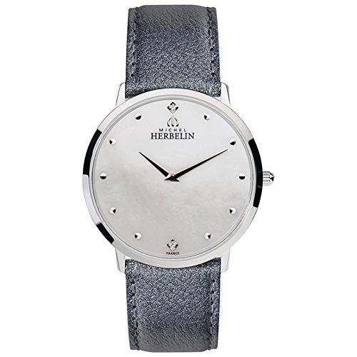 Michel Herbelin Unisex Erwachsene Analog Uhr mit Leder Armband 17415/59GR