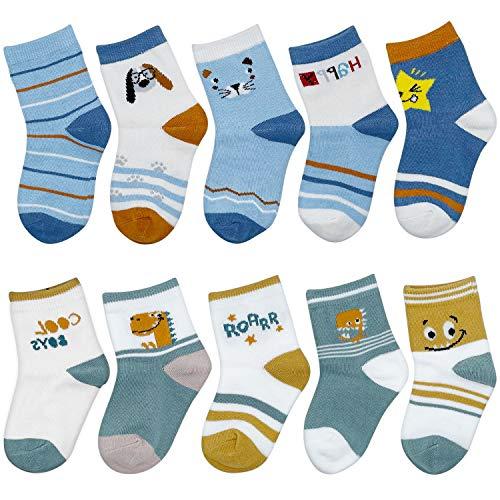 ZYUPHY Baby Socken Baumwolle Jungen Mädchen Kinder Socken Nette Bunte Karikatur Tier Neugeborenes Socken für Frühling Herbst Winter 1-5 Jahre, 10 Paare