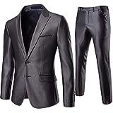 AOWOFS Traje de 2 piezas para hombre, corte ajustado, no necesita planchado, traje de negocios, boda, chaqueta de traje, pantalones Gris 009 S