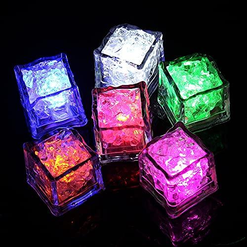 Lot de 12 Glaçon Lumineux LED, étanches à la Lueur Clignotante Multicolore dans Le Noir à LED allumant Le Cube de Glace pour la décoration de Mariage de vin de fête à Boire du Club de Bar