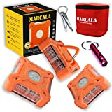 MARCALA 2020 Roadside Safety Discs | The Only Complete LED Road Flare Kit w/ a Whistle! | DOT Compliant LED Safety Flare Kit w/ Batteries installed, Carry-Case and 3 Bonuses | Feel safer on the road!