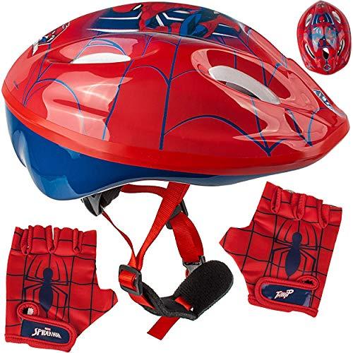 alles-meine.de GmbH Set: Kinderhelm / Fahrradhelm + Fahrradhandschuhe ___ Spider-Man - Gr. 52 - 56 - Circa 3 bis 15 Jahre - Größen verstellbar / mitwachsend - TÜV geprüft - Helm ..