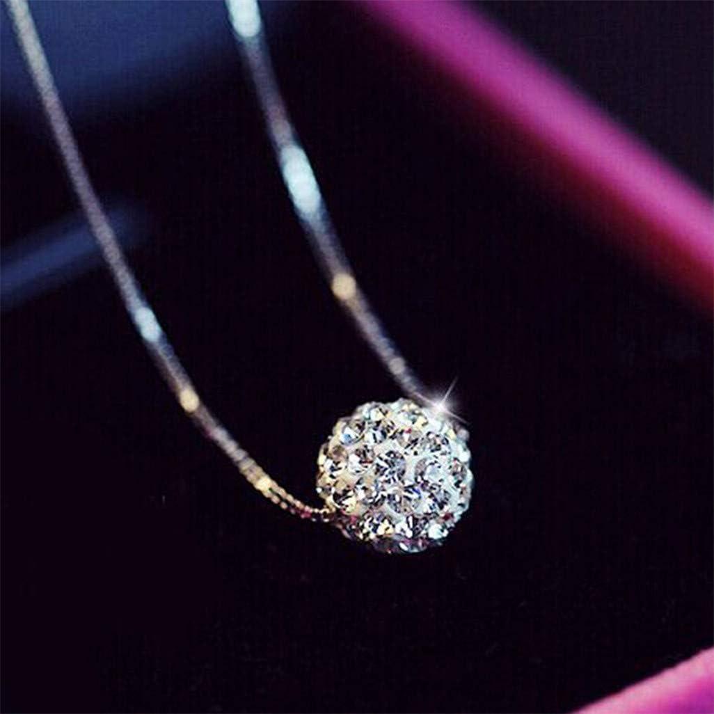 WEILYDF Clavicle Chain Women Minimalist Full Rhinestone Ball-Shape Pendant Necklace Classic Simple Short Choker Necklace