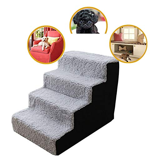 Pet stairs Dog Stairs Cat Steps 4-Step Dog Stairs with Soft Padded Covered, Removable Ladder for Small Dogs and Cats, Best for Tall Bed & Sofa (Color : Black)