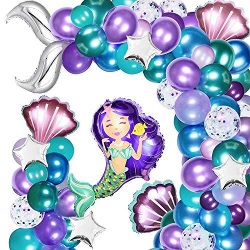Mermaid Balloon Garland 138 Pcs Mermaid Tail Balloon Garland Kit with Metallic Balloons Mermaid Tail Foil Balloons for Mermaid Ocean Theme Party Under The Sea Party
