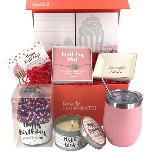 Happy Birthday Box for Women | Premium Unique Gift Ideas for Her | Surprise Package Filled with Fun Gifts for Mom Daughter Sister Best Friend