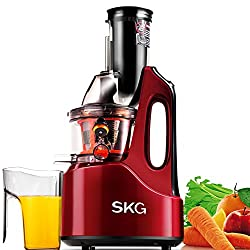"SKG Wide Chute Anti-Oxidation Slow Masticating Juicer (240W AC Motor, 60 RPMs, 3"" Big Mouth) - Vertical Masticating Cold Press Juicer - Fathers Day Gifts From"