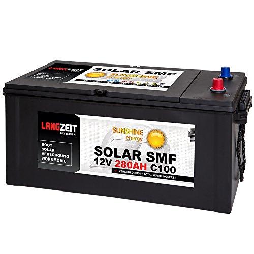 Solarbatterie 280Ah 12V Versorgungsbatterie Wohnmobil Batterie Boot Solar SMF Akku total wartungsfrei 230Ah