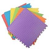 Assemblemat® '' Mousse EVA Douce Protection du Sol '' Tapis Multicolores emboîtables de 12 mm pour Exercice de Gymnastique de Yoga Salle de Jeux avec rebords 6 pièces = 24 Pieds carrés