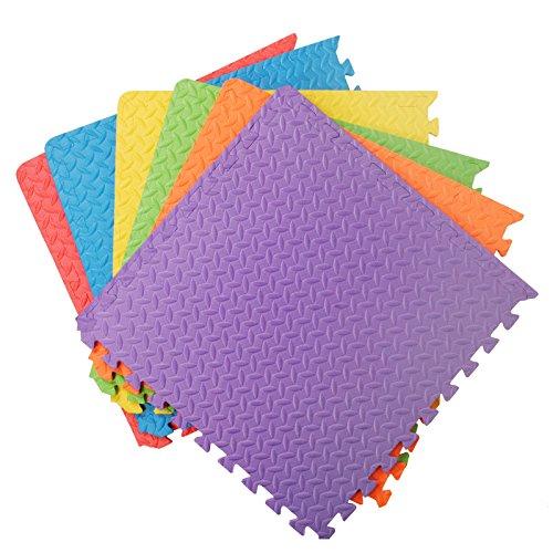 Assemblemat® Interlocking 12mm Multicolor Suave Espuma de EVA Alfombras de Piso para Ejercicio Yoga y Gimnasio