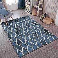 ホームカーペット、長方形のカーペット、青い波線のラインカーペット滑り止めジムプレイマットの家の装飾の汚れ柵の抵抗力のある床のカーペット,ブルー,120X160cm