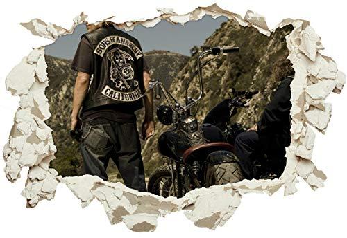 Unified Distribution Sons of Anarchy Jackson Teller Jax Charlie Hunnam - Wandtattoo mit 3D Effekt, Aufkleber für Wände und Türen Größe: 92x61 cm, Stil: Durchbruch