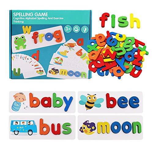 Kingzhuo See and Spelling Learning Toys Words Games Matching Letter Puzzles Educational Toys for Kids Durable Solid Wood Toy Puzzles Fun and Educational Learning Tool