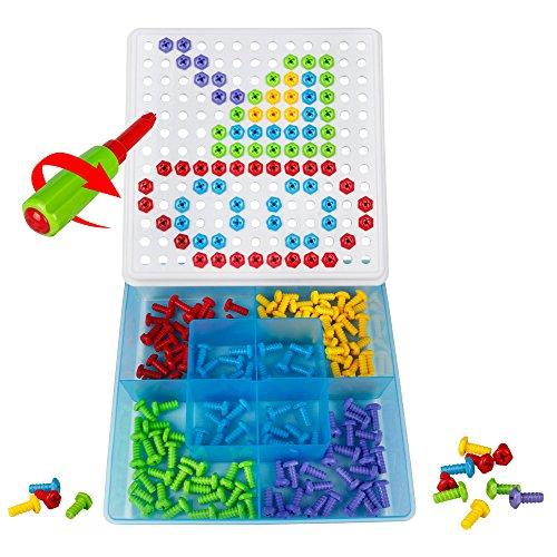 Mosaicos Infantiles Juego Bricolaje Niños Rompecabezas Puzzle Tornillos de Juguete Juego Regalos para Niñas Chico de 3 4 5 Años(152PCS)