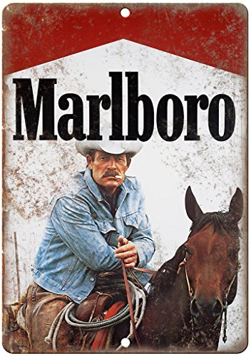 "Vintage Marlboro Man Cigarette Ad Cowboy 12"" X 9"" Retro Look Metal Sign Y10"