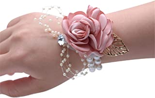 Zippersell Wedding Bride Wrist Corsage Bridesmaid Pink Wrist Flower Corsage for Wedding Prom Party Homecoming (Pack of 2)