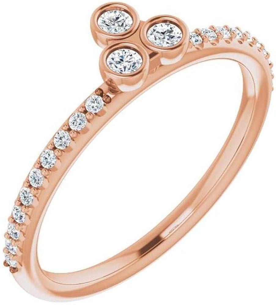 1/5 Cttw Diamond Three 3 Stone Asymmetrical Stackable Wedding Anniversary Ring Band (.20 Cttw)