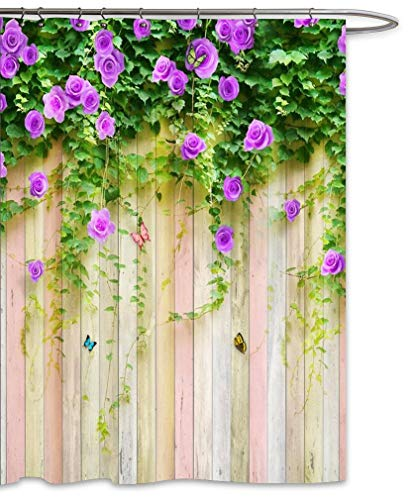 FOOG Duschvorhang-Set mit Rosenranken, vertikale Streifen, Holzmuster, Bunte Schmetterlinge, Frühling, Blumen, Landschaft, Polyester, schimmelresistent, wasserdicht, Grün/Violett 70
