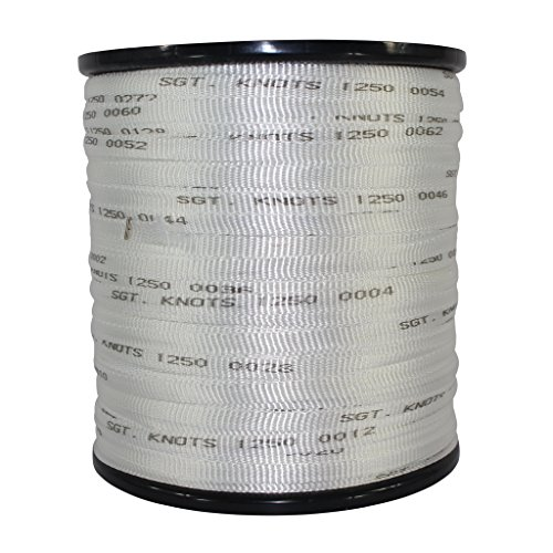 Printed Pull Tape (1/2 inch) - SGT KNOTS - Professional Grade Pre-Lubricated Polyester Mule Webbing - Lightweight Flat Rope - for Commercial Cable and Wire Installation & DIY Projects (3000 ft, White)