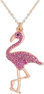 Full Rhinestone Flamingo Bird Pendant Necklace for Women 18