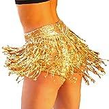 Yollmart Women's Sequins Tassel Skirts Shorts Booty Dance Festival Bottoms (X-Large, Gold)